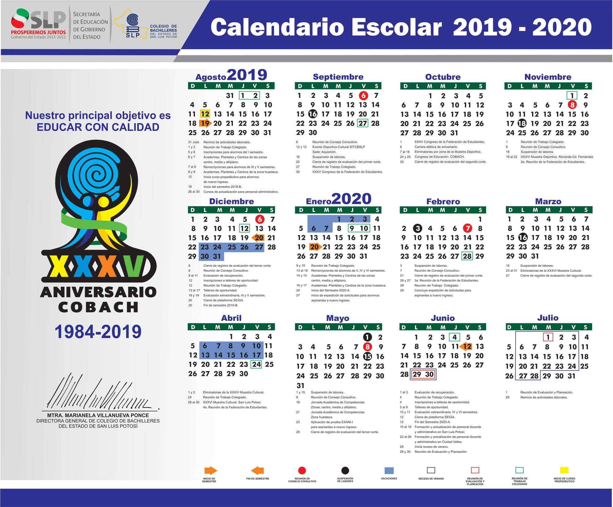 Calendario Verano 2020.Calendario Escolar
